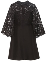Valentino Virgin Wool And Silk Cape Dress With Lace