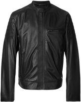 Dolce & Gabbana band collar leather jacket