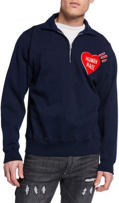 HUMAN MADE Men's Quarter-Zip Logo-Graphic Sweater