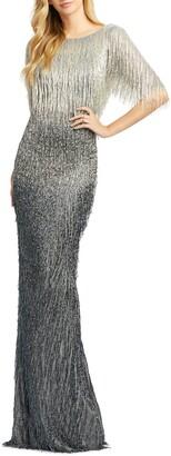 Mac Duggal Beaded Fringe Gown