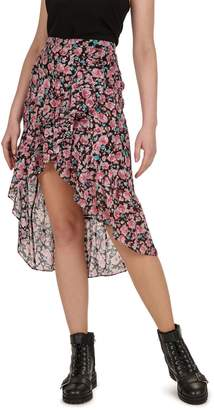 The Kooples Floral-Print Asymmetrical Skirt