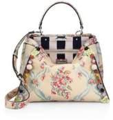 Fendi Peekaboo Embellished Floral-Print Leather Satchel