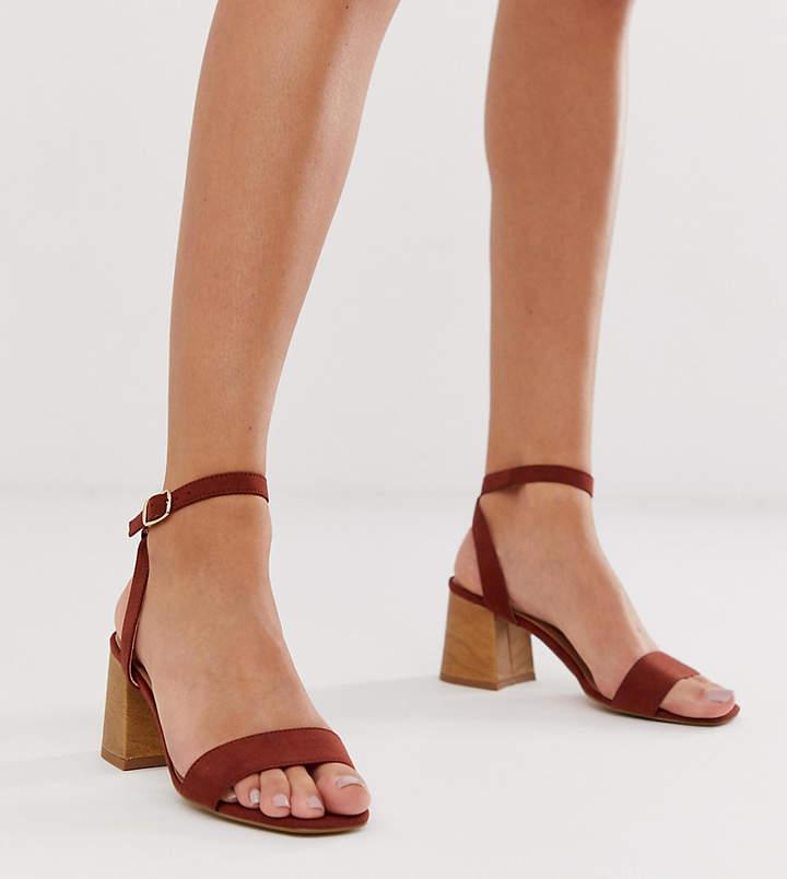 Wooden Low Block Heeled Sandal In Rust