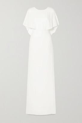 Halston Cape-effect Crepe De Chine Gown - Off-white