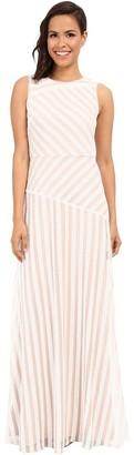 Donna Morgan Women's Gigi-Boatneck Striped Sequin Gown
