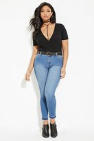 Forever 21 FOREVER 21+ Plus Size Frayed Skinny Jeans
