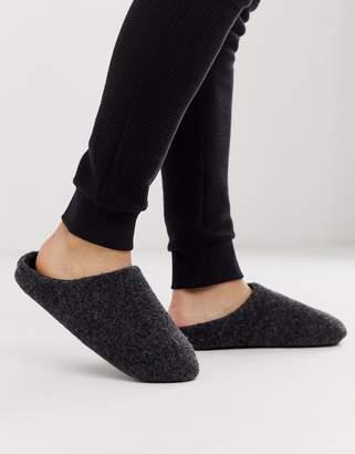 Asos Design DESIGN slip on slippers in black marl
