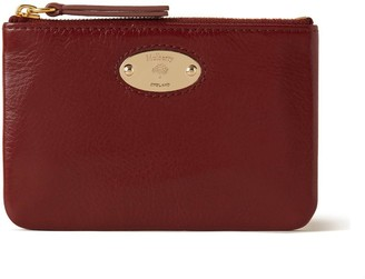 Mulberry Plaque Small Zip Coin Pouch Crimson High Shine Leather
