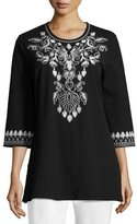 Joan Vass 3/4-Sleeve Cotton Interlock Embroidered Tunic, Black/White, Petite