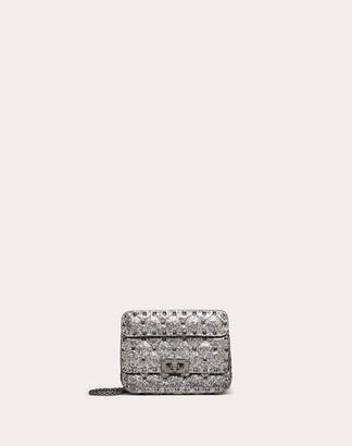 Valentino Mini Rockstud Spike Glitter Fabric Bag Women Silver Polyurethane 50%, Polyester 42%, Cotton 8% OneSize