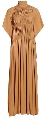 Victoria Beckham Smocked Highneck Maxi Dress