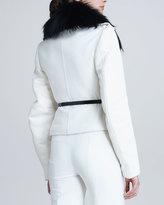 Jason Wu Fox Fur-Trim Motorcycle Coat, Bone/Black