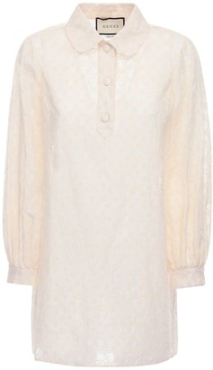 Gucci Gg Cotton Lace Shirt Mini Dress
