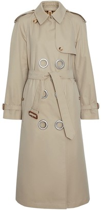 Burberry Grommet Detail Cotton Gabardine Trench Coat