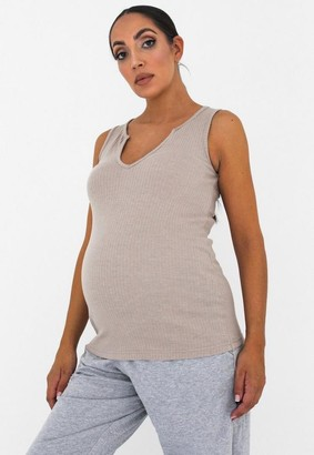 Missguided Gray Rib Notch Neck Maternity Top