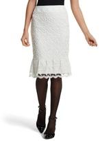 White House Black Market Ecru Lace Flounced Pencil Skirt