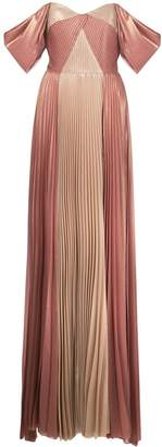 Marchesa off-shoulder pleated evening dress
