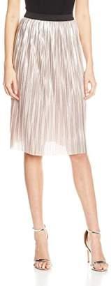 Quiz Women's Pleat Foil Skirt, (Pink), 8