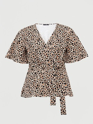 V By Very Curve Jersey Wrap Top - Animal Heart Print