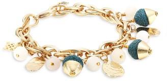 Akola Druzy & Raffia Charm Bracelet