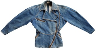 Alaia Blue Denim - Jeans Leather Jacket for Women Vintage