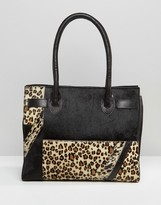 Urban Code Urbancode Leather And Leopard Mix Tote Bag