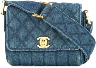 Chanel Pre-Owned 1989-1991 CC logo mini denim shoulder bag