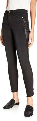 Frame Le High Skinny Sequin Tux Stripe Jeans