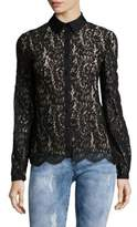 Carolina Herrera Floral-Lace Button-Down Shirt