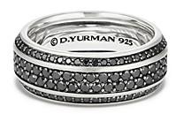 David Yurman Streamline Pave Band Ring with Black Diamonds