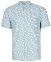 Topman Blue Geo Print Short Sleeve Casual Shirt