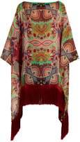 Etro Graphic floral-print fringe-trimmed silk top
