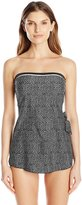 Maxine Of Hollywood Women's Ditzy Dot Bandeau Sarong One Piece Swimsuit