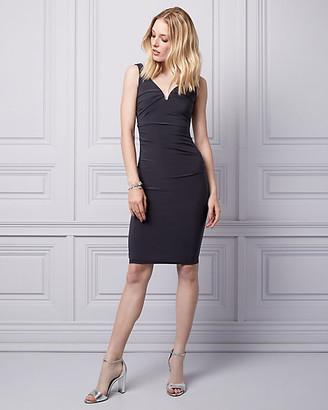 Le Château Knit V-Neck Pleated Shift Dress