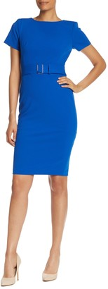 Calvin Klein Belted Waist Sheath Dress