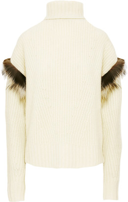 LAPOINTE Fur-Trimmed Ribbed-Knit Cashmere-Silk Turtleneck Sweater