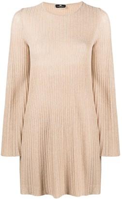 Elisabetta Franchi Ribbed-Knit Metallic-Threading Dress