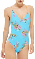 Topshop Women's Tropical Print Reversible One-Piece Swimsuit