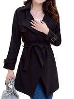 Helan Apparel Helan Women's Slim Long Sleeve Lapel Trench Coat US