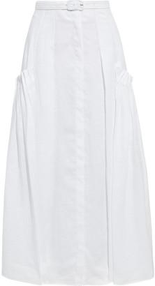 Gabriela Hearst Belted Pleated Linen Maxi Skirt