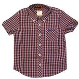 Ben Sherman Kid's Blue & Red Short Sleeve Rowland Plaid Shirt