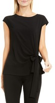 Vince Camuto Women's Mixed Media Tie Front Blouse