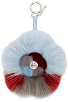 Fendi Blue and Red Fur Crystal Flower Keychain