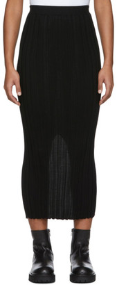 Helmut Lang Black Wool Rib Skirt