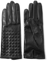 Bottega Veneta Intrecciato Leather Gloves - Midnight blue