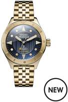 Vivienne Westwood Smithfield Textured Blue And Gold Plated Detail Dial Gold Stainless Steel Bracelet Mens Watch