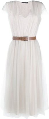 Fabiana Filippi Belted Tulle Midi Dress
