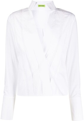 GAUGE81 Pleated High-Collar Shirt