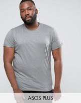 Asos PLUS T-Shirt With Roll Sleeve In Blue Marl