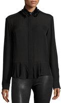 McQ by Alexander McQueen Silk Embroidered Peplum Shirt, Black